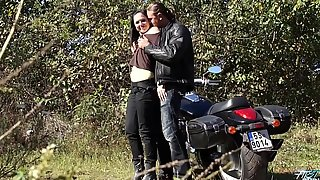 Raw biker drill innocent young babe in public