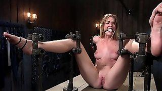 Slim blonde in various bondages tormented