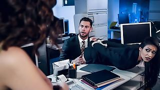 Pair of stunning brunettes fuck one lucky in the office